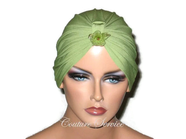 Handmade Green Chemo Turban, Olive - Couture Service  - 5