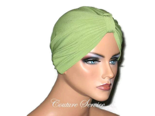 Handmade Green Chemo Turban, Olive - Couture Service  - 2