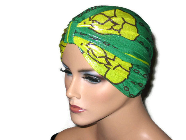 Handmade Green Metallic Chemo Turban, Abstract, Yellow - Couture Service  - 2