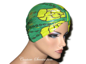 Handmade Green Metallic Chemo Turban, Abstract, Yellow - Couture Service  - 4