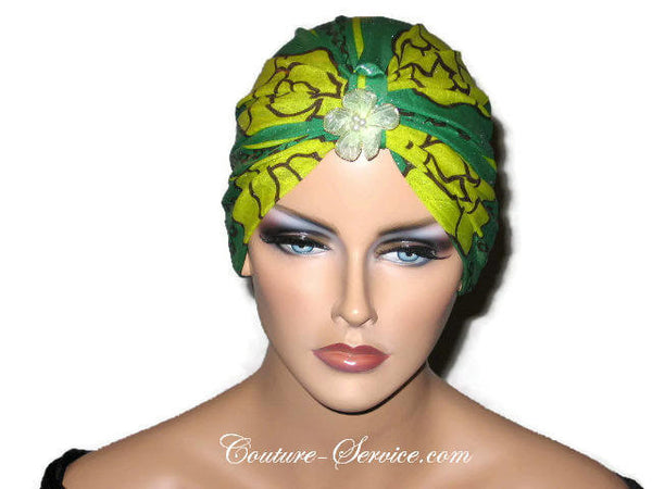 Handmade Green Metallic Chemo Turban, Abstract, Yellow - Couture Service  - 5