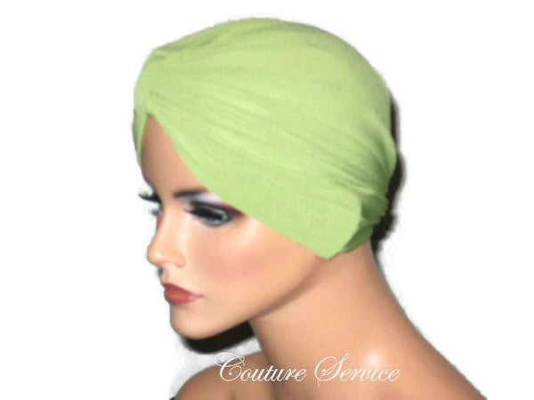 Handmade Green Chemo Turban, Olive - Couture Service  - 4