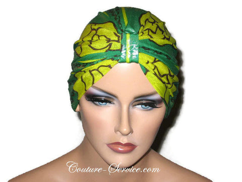 Handmade Green Metallic Chemo Turban, Abstract, Yellow - Couture Service  - 1