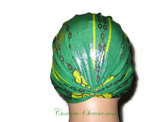 Handmade Green Metallic Chemo Turban, Abstract, Yellow - Couture Service  - 3