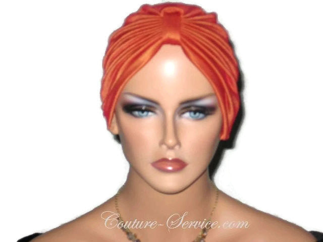 Handmade Orange Chemo Turban, Iridescent - Couture Service  - 1