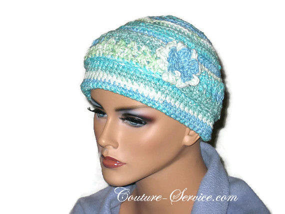 Handmade Blue Crocheted Chemo Hat - Couture Service  - 2
