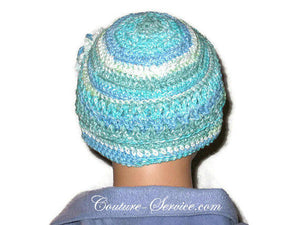 Handmade Blue Crocheted Chemo Hat - Couture Service  - 3