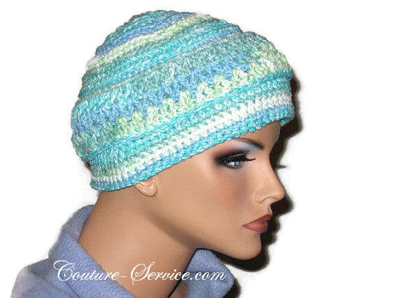 Handmade Blue Crocheted Chemo Hat Couture Service