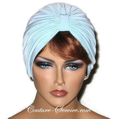 Handmade Blue Single Knot Turban, Powder - Couture Service  - 1