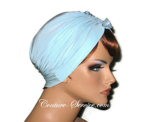 Handmade Blue Center Shirred Turban, Powder - Couture Service  - 4