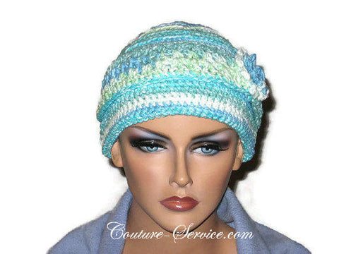 Handmade Blue Crocheted Chemo Hat - Couture Service  - 1