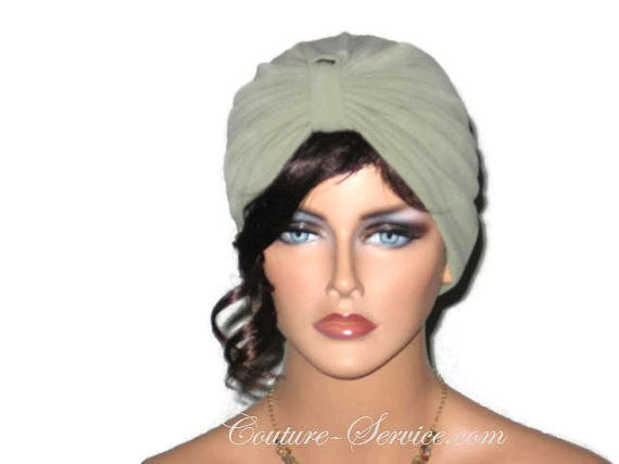 Handmade Green Single Knot Turban, Sage - Couture Service  - 1