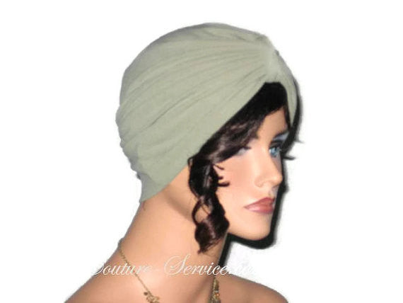 Handmade Green Single Knot Turban, Sage - Couture Service  - 2