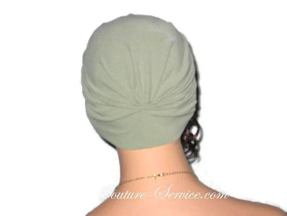 Handmade Green Single Knot Turban, Sage - Couture Service  - 3