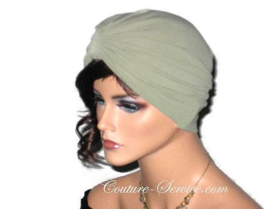 Handmade Green Single Knot Turban, Sage - Couture Service  - 4