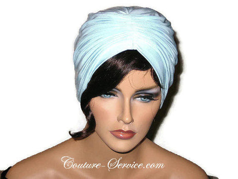 Handmade Blue Center Shirred Turban, Powder - Couture Service  - 1
