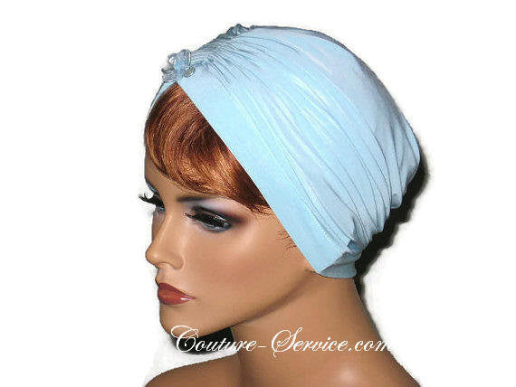 Handmade Blue Center Shirred Turban, Powder - Couture Service  - 2