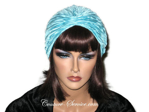 Handmade Blue Pleated Turban, Aqua - Couture Service  - 1