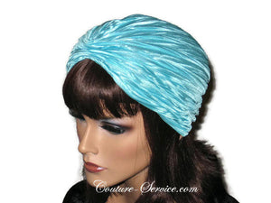 Handmade Blue Pleated Turban, Aqua - Couture Service  - 4