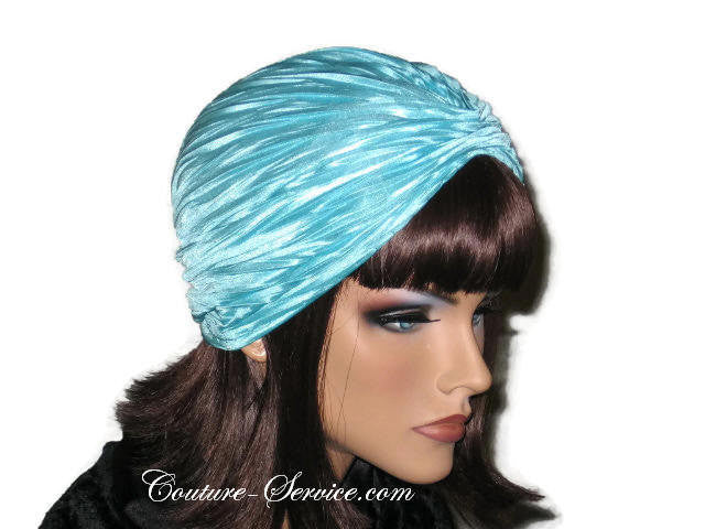 Handmade Blue Pleated Turban, Aqua - Couture Service  - 2