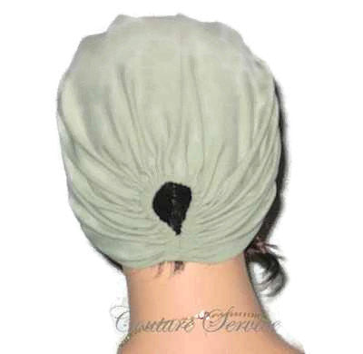 Handmade Green Pleated Turban, Sage - Couture Service  - 3