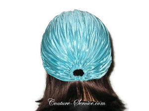 Handmade Blue Pleated Turban, Aqua - Couture Service  - 3