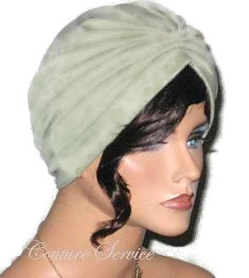 Handmade Green Pleated Turban, Sage - Couture Service  - 2