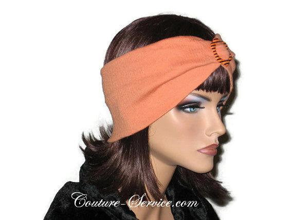 Handmade Orange Headband Turban, Smocked Rayon - Couture Service  - 4