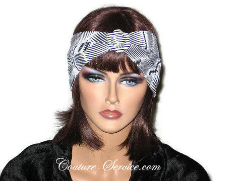 Handmade Black Headband Turban, Abstract, White - Couture Service  - 1