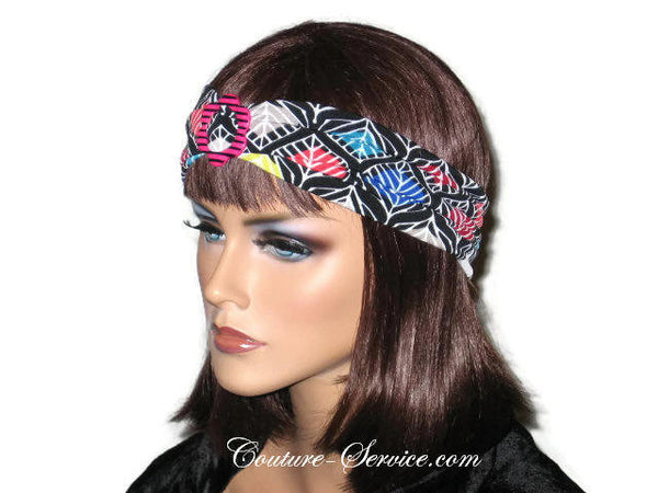 Handmade Black Headband Turban, Abstract, Red - Couture Service  - 2