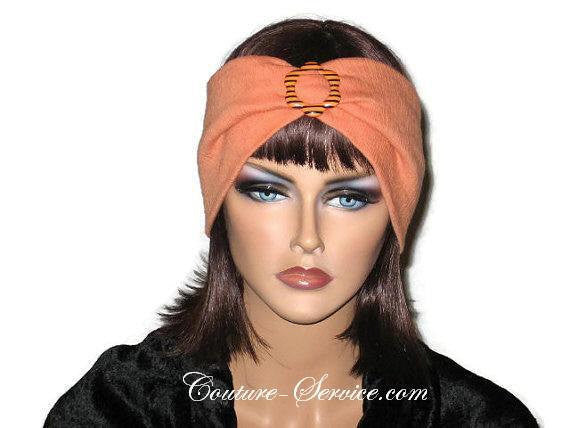 Handmade Orange Headband Turban, Smocked Rayon - Couture Service  - 1