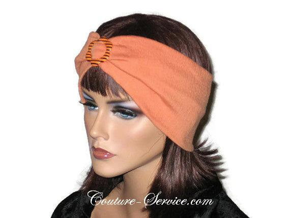 Handmade Orange Headband Turban, Smocked Rayon - Couture Service  - 2