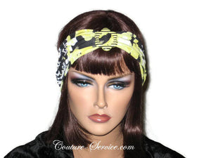 Handmade Yellow Headband  Turban, Abstract, Black - Couture Service  - 1