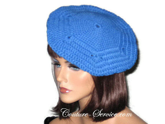 Handmade Crocheted Blue Beret, Robin - Couture Service  - 1