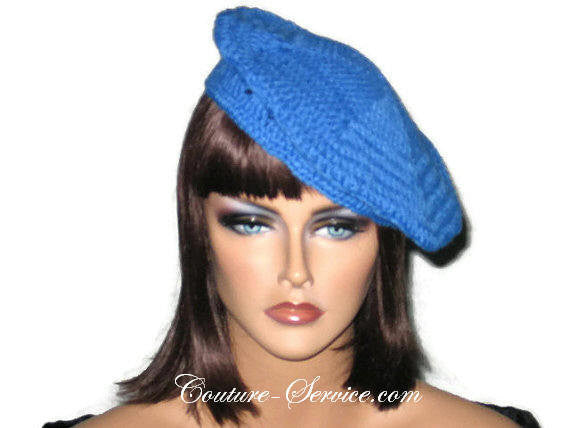 Handmade Crocheted Blue Beret, Robin - Couture Service  - 2