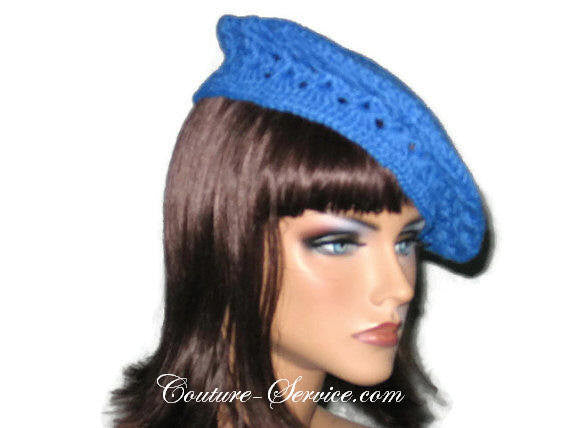 Handmade Crocheted Blue Beret, Robin - Couture Service  - 3
