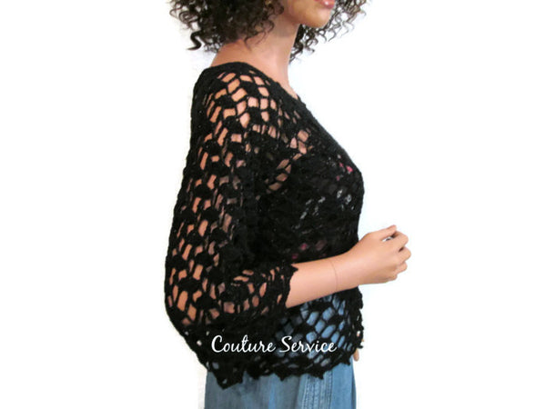 Handmade Crocheted Lace Tank Top Overblouse, Black Sparkle - Couture Service  - 2