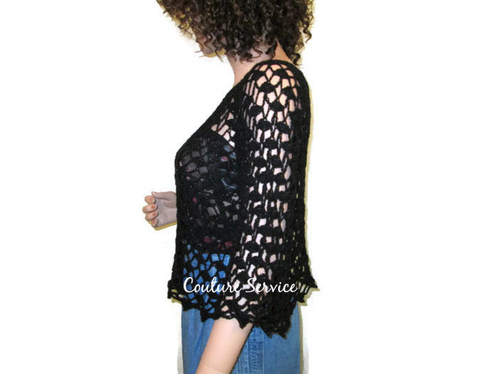 Handmade Crocheted Lace Tank Top Overblouse, Black Sparkle - Couture Service  - 4