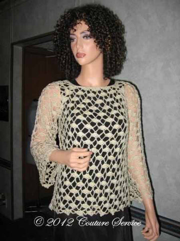 Handmade Crocheted Lace Top Overlay, Natural - Couture Service  - 1