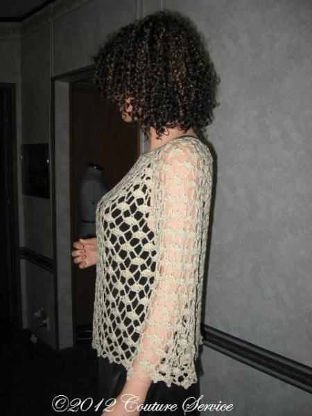 Handmade Crocheted Lace Top Overlay, Natural - Couture Service  - 4