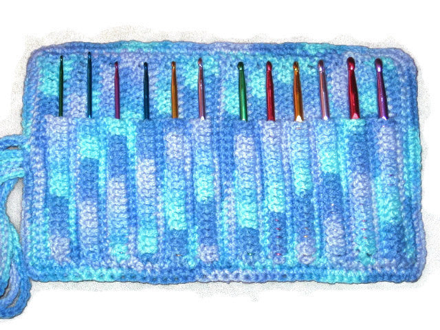 Handmade Crocheted Crochet Hook Organizer, 12 Pocket, Blue Variegated - Couture Service  - 1