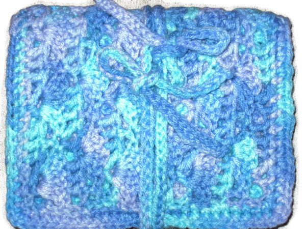 Handmade Crocheted Crochet Hook Organizer, 12 Pocket, Blue Variegated - Couture Service  - 3