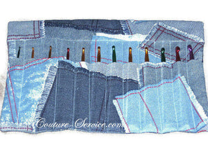 Handmade 10 Pocket Crochet Hook Organizer, Blue - Couture Service  - 1