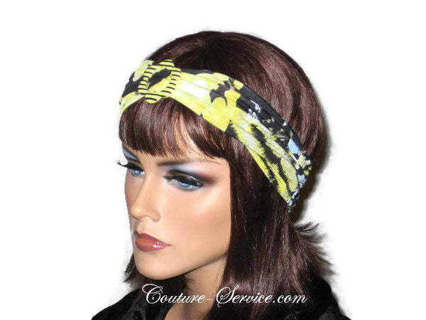 Handmade Yellow Headband  Turban, Abstract, Black - Couture Service  - 2