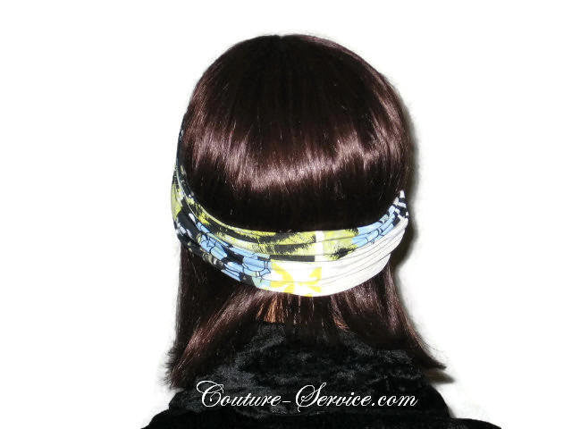 Handmade Yellow Headband  Turban, Abstract, Black - Couture Service  - 3