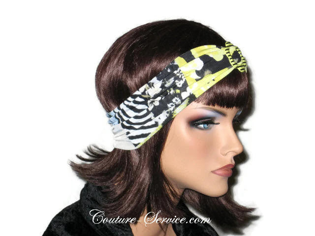Handmade Yellow Headband  Turban, Abstract, Black - Couture Service  - 4