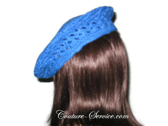 Handmade Crocheted Blue Beret, Robin - Couture Service  - 4