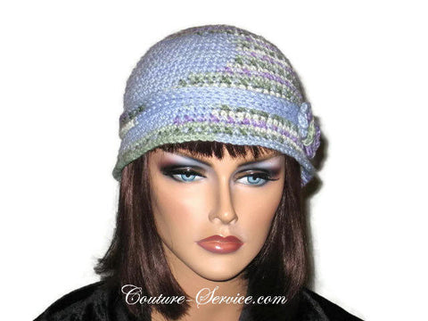 Handmade Crocheted Blue Cloche, Light Blue, Variegate, Size S - Couture Service  - 1