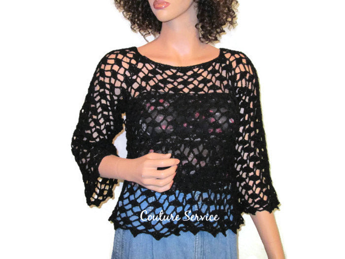 Handmade Crocheted Lace Tank Top Overblouse, Black Sparkle - Couture Service  - 1