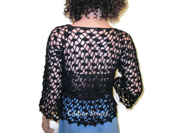 Handmade Crocheted Lace Tank Top Overblouse, Black Sparkle - Couture Service  - 3